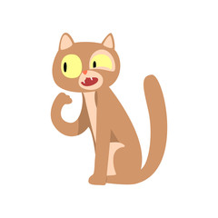 Cute funny cat cartoon character vector Illustration on a white background