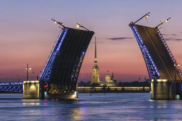 Saint Petersburg sunrise city skyline at Palace Bridge, Saint Petersburg Russia