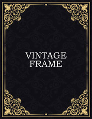 Gold decorative frame. Vector vintage templates. The past. Monogram, initials, jewelry. Elegant emblem logo for restaurants, hotels, bars and boutiques. Business cards, invitations, brochures