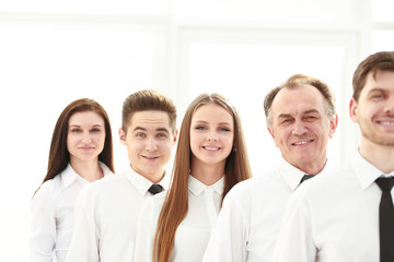 close up. a successful group of employees standing in a row
