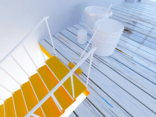 painting of stairs, workflow in the room  3d