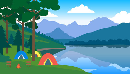 camping and tent under trees near the lake landscape