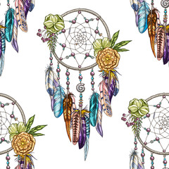 Vector seamless pattern with Dream catcher isolated on white background. Luxury dream catcher with flowers and beads.
