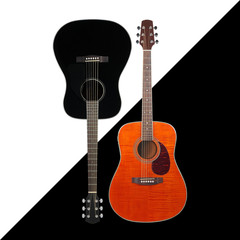 Musical instrument - Black and tiger maple western acoustic guitar black and white