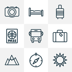 Journey icons line style set with bus, compass, suitcase and other luggage  elements. Isolated vector illustration journey icons.