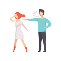 Angry man screaming at young woman, couple quarreling, family conflict, disagreement in relationship vector Illustration on a white background