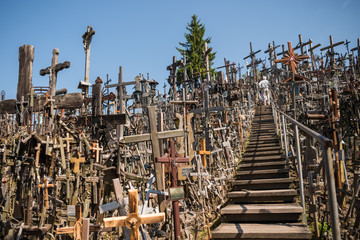 SIAULIAI, LITHUANIA - JULY 22, 2018: Hill of Crosses is a unique monument of history and religious folk art