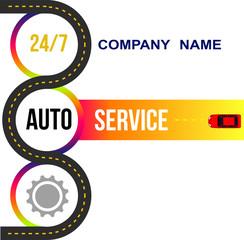 Banner car service. Road, car, repair. Vector illustration.