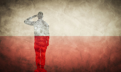 Polish grunge flag with soldier silhouette.