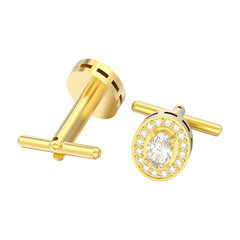 3D illustration isolated two yellow gold metal chrome diamond cufflinks stud