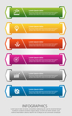 Modern vector illustration. Infographic template with six elements, arrows of the rectangle and percentages. Step by step. Designed for business, presentations, web design, diagrams with 6 steps