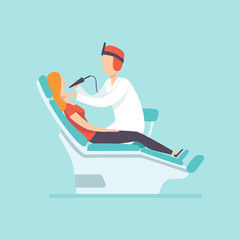 Male dentist examining female patient at dental clinic , medical treatment and healthcare concept vector Illustration