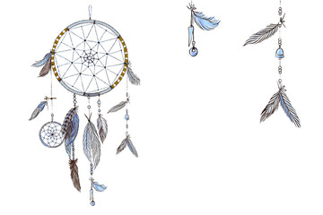 Hand drawn ornate Dream catcher with feathers in soft trendy colors. Astrology, spirituality, magic symbol. Ethnic tribal element.