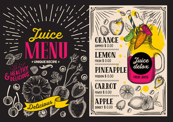 Juice smoothie menu for restaurant and cafe. Vector drink flyer on blackboard background. Design template with vintage hand-drawn illustrations.