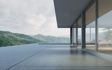 Fototapeta Perspective of modern building with terrace and swimming pool on mountain view background,Idea of family vacation. 3D rendering. obraz