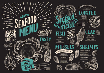 Seafood menu for restaurant on chalkboard background. Vector food flyer for bar and cafe. Design template with vintage hand-drawn illustrations.