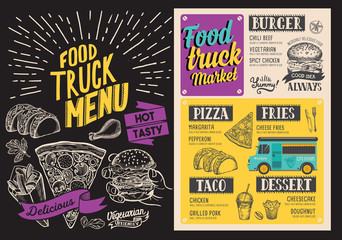 Food truck menu. Design template with doodle hand-drawn graphic illustrations.