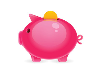 Vector colorful illustration of a piggy bank with a gold coin on top. realistic drawn Pink funny pig with gold coin inside isolated from white background