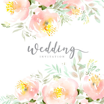 Beautiful peony background template in watercolor style