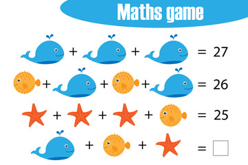 Maths game with pictures  of ocean animals for children, middle level, education game for kids, preschool worksheet activity, task for the development of logical thinking, vector illustration