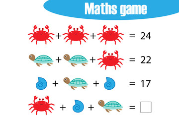 Maths game with pictures (ocean animals) for children, middle level, education game for kids, preschool worksheet activity, task for the development of logical thinking, vector illustration