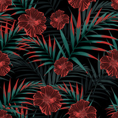 Vector seamless tropical pattern, vivid tropic foliage with palm leaves, tropical hibiscus flower in bloom.  Night tropical backdrop