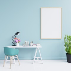 Mockup poster of an working interior with blue wall empty room,minimal design,3d rendering
