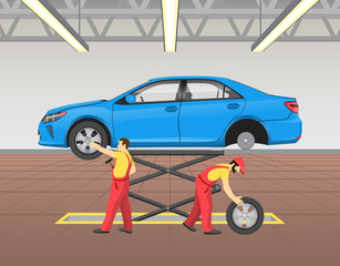 Lifted Car Repairing Process Vector Illustration