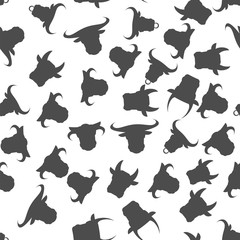 Head of Bull Seamless Pattern