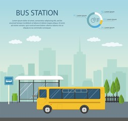 Bus at the bus stop on background of city. Transport concept of passenger transportation.