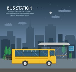 Bus at the bus stop on background of night city. Transport concept of passenger transportation.м