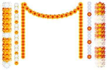 Indian orange flower garland mala frame isolated on white