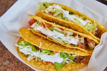 Three Hardshell Tacos Mexican