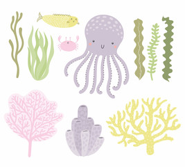 Sea set with cute funny octopus, crab, fish, corals, seaweed. Isolated objects on white background. Hand drawn vector illustration. Scandinavian style flat design. Concept for children print.