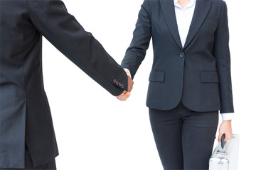 Business partner shaking hands in agreement isolated on white background. Business concept.