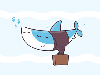 Cute kawaii business shark with briefcase hunting dollar money vector cartoon illustration