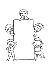 Cartoon happy kids holding board