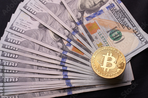 Golden Metal Bitcoin On Dollar Bills Background A Lot Of Money In Cash 100 Dollars Texture Dear Gold Coin Profit From Mining