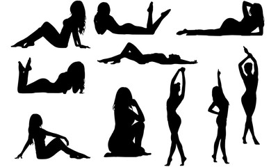 Fit Woman Silhouette |Sensual female Vector | Beautiful Girl Posing | Clipart Clip art Logo