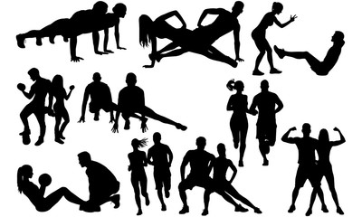 Fitness Couple Silhouette |Boy Girl Execising | Training Trainee by Trainer Vector | Clipart Clip art Logo