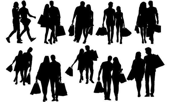 Couples Shopping Silhouette | Man Woman carrying Bags Vector | Modern Lifestyle | Clipart Clip art Logo
