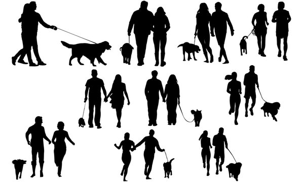 Couples with Dog Silhouette   Dog Walking Vector  Exercise with Dog   Clipart Clip art Logo