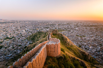 Sunset view of Nahargarh Fort on the edge of Aravalli Hills, Jaipur, Rajasthan, India
