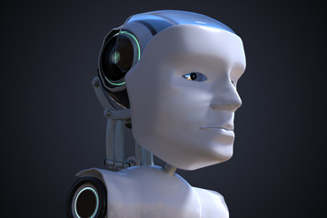 3D rendered illustration of robotic head. Artificial intelligence concept.