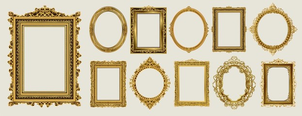 Set of invitation golden and green royal frame photo design Papier Peint