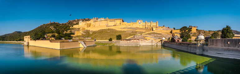 Panoramic view of Amber Palace (Amer Fort) with Jaigarh Fort on the hill, The structure built with Hindu and Muslim elements, it's also offering elephant rides, North of Jaipur, Amer, Rajasthan, India