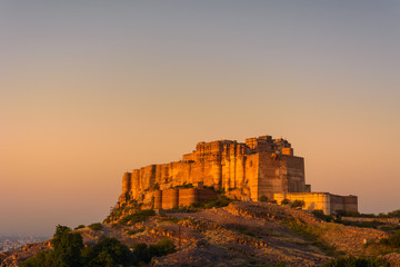 Sunrise view of Mehrangarh Fort, one of India's largest forts offers a lift and galleries, plus guided tours & shops from Jodhpur the Blue City, Rajasthan, India