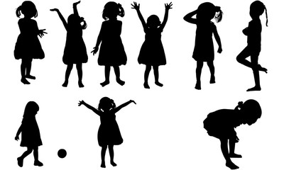 Toddler Girl Silhouette | Happy  Daughter Vector | Child Playing | Clipart Clip art Logo