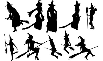 Witch with Broomstick Silhouette | Halloween | Evil Female Vector | Clipart Clip art Logo