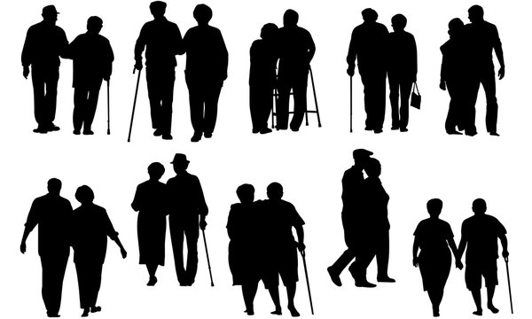 Senior Couple Walking Silhouette   Old People on a Walk Vector   Grandfather and Grandmother   Clipart Clip art Logo